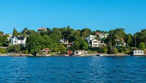 Картинки Швеция Море Дома Стокгольм