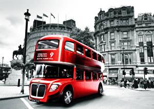 Картинки Англия Автобус Лондон Красный Улица Города Автомобили