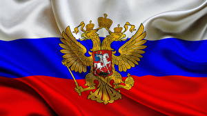 Фото Россия Флаг Двуглавый орёл Герб