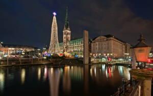 Фотография Германия Дома Реки Гамбург Ночные Новогодняя ёлка
