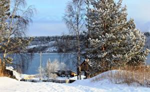 Обои для рабочего стола Россия Реки Зима Деревья Снега Природа