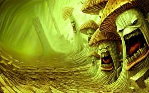 Картинка Грибы природа Злой Фантастика