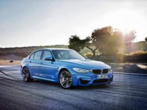 Фотография BMW Дороги Голубой 2014 M3 Автомобили
