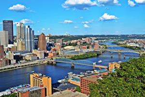 Фото Штаты Река Небоскребы Мосты Питтсбург Пенсильвания