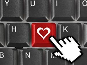 Фотографии Клавиатура Крупным планом День всех влюблённых Сердце