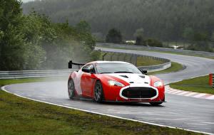 Картинка Aston Martin Дороги Красный V12 Zagato Авто