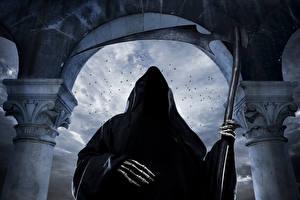 Картинка Готика Фэнтези Нежить Смерть Коса (оружие) Капюшон