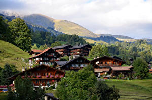 Картинка Швейцария Дома Гора Берн Grindelwald