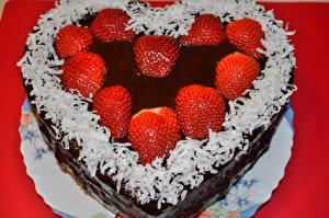 Фотография Сладости Торты Клубника День всех влюблённых Серце Еда