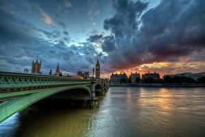 Картинки Англия Мост Реки Лондон Облако Westminster Thames Города