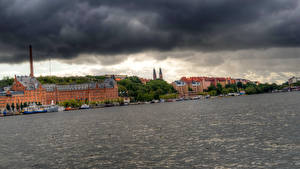 Картинки Швеция Речка Здания Стокгольм
