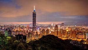 Фото Китай Здания Небоскребы Тайвань Тайбэй Ночь Мегаполис Города