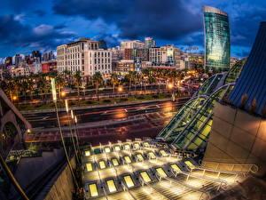 Обои США Дома HDRI Ночью Уличные фонари Сан-Диего Города
