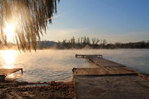 Фотография Россия Реки Пристань Рассвет и закат Природа