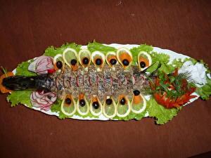 Фото Морепродукты Рыба Томаты Лимоны