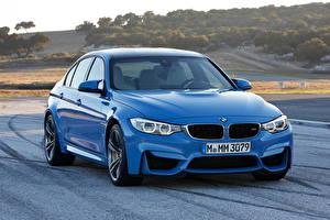 Картинка BMW Дороги Голубой 2014 M3 Автомобили