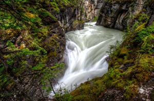 Обои Канада Водопады Парки HDR Каньон Джаспер парк Maligne Canyon