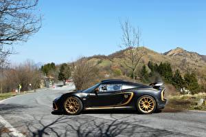 Картинка Lotus Тюнинг Дороги Черный Сбоку 2012 Exige R-GT Автомобили Природа