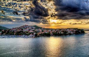 Фотографии Хорватия Дома Море Небо Побережье Дубровник Облака HDR