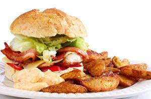 Фотография Быстрое питание Картофель фри Гамбургер Продукты питания