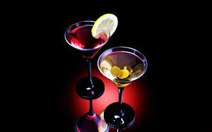 Картинки Напитки Коктейль Лимоны Бокал Пища