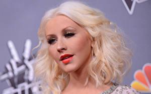 Обои Кристина Агилера Лицо Волосы Блондинка Взгляд Знаменитости Девушки