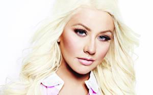 Фотография Christina Aguilera Лицо Смотрит Блондинка Волосы Музыка Знаменитости Девушки