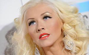 Обои Christina Aguilera Волосы Блондинка Лицо Взгляд Серьги Музыка Знаменитости Девушки фото