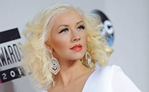 Картинки Кристина Агилера Волосы Лицо Блондинка Серьги Знаменитости Девушки