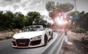 Фотографии Audi Стайлинг Дороги Белый Кабриолет Спереди 2013 R8 V10 spyder Машины