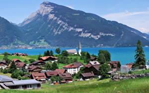 Обои Швейцария Пейзаж Дома Озеро Гора Берн