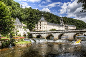 Картинка Франция Дома Мосты Реки Водопады HDR Brantome Города