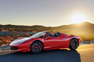 Картинка Хеннесси Ferrari Рассветы и закаты Дороги Красный Металлик Дорогие 2013 HP700 Twin Turbo 458 Автомобили Природа