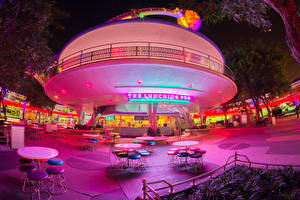 Фотография США Диснейленд Парки Калифорния Анахайм HDR Ночные Дизайн Кафе Стол Стулья Города