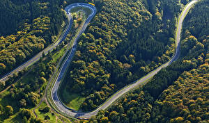 Обои Германия Дороги Леса Сверху Rheinland-Pfalz Природа