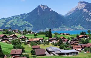 Фото Швейцария Дома Горы Берн