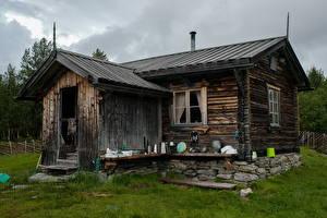 Фотография Швеция Здания Трава Деревянный Старый Dalarna