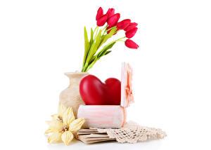 Обои Тюльпан Праздники День всех влюблённых Вазе Сердечко Цветы