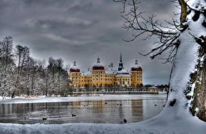 Картинки Германия Замок Зима Река Снегу Moritzburg Города Природа