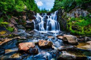 Фотография Штаты Парки Водопады Камни Вашингтон Маунт-Рейнир парк