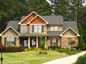 Картинка Дома Ландшафт Газон Трава Дизайн Города