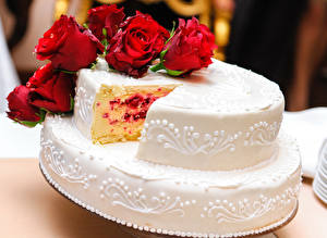Картинки Сладости Торты Розы Еда Цветы