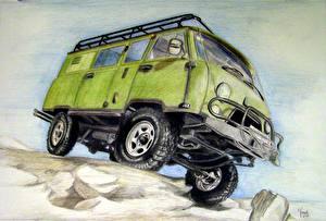Фотография Рисованные Российские авто УАЗ 3741 Авто