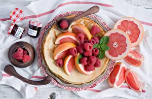 Фото Малина Фрукты Цитрусовые Грейпфрут Блины Пища