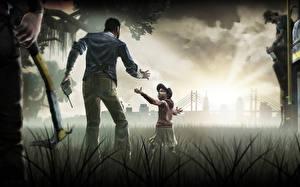 Картинка Рисованные Трава Девочки Walking dead the game Игры Дети