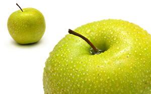 Обои Фрукты Яблоки Вблизи Капель Зеленая Пища
