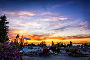 Обои Штаты Рассветы и закаты Дома Небо Вашингтон Улица Edmonds Города Природа