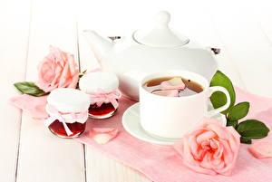 Фото Напитки Чай Розы Чашка Банке Еда