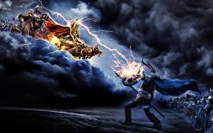 Обои Amon Amarth Сражения Чудовище Молния Фэнтези