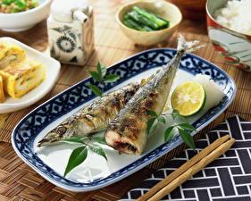 Фотографии Морепродукты Рыба Лайм Тарелка Еда
